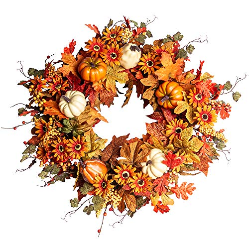 J'FLORU Artificial Fall Wreath,22″ Autumn Wreath for Front Door with Big Pumpkins and Orange Daisy Flowers Fall Maple Leaf Wreath for Front Door and Thanksgiving Decor