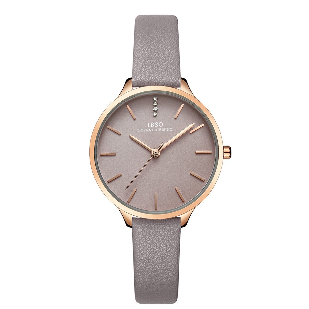 IBSO Female Watches Grey Leather Strap Rose Gold Case Fashion Women Watch for Sale (6603-Grey)