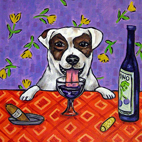 Jack Russell Terrier at the Wine Bar dog art tile coaster gift