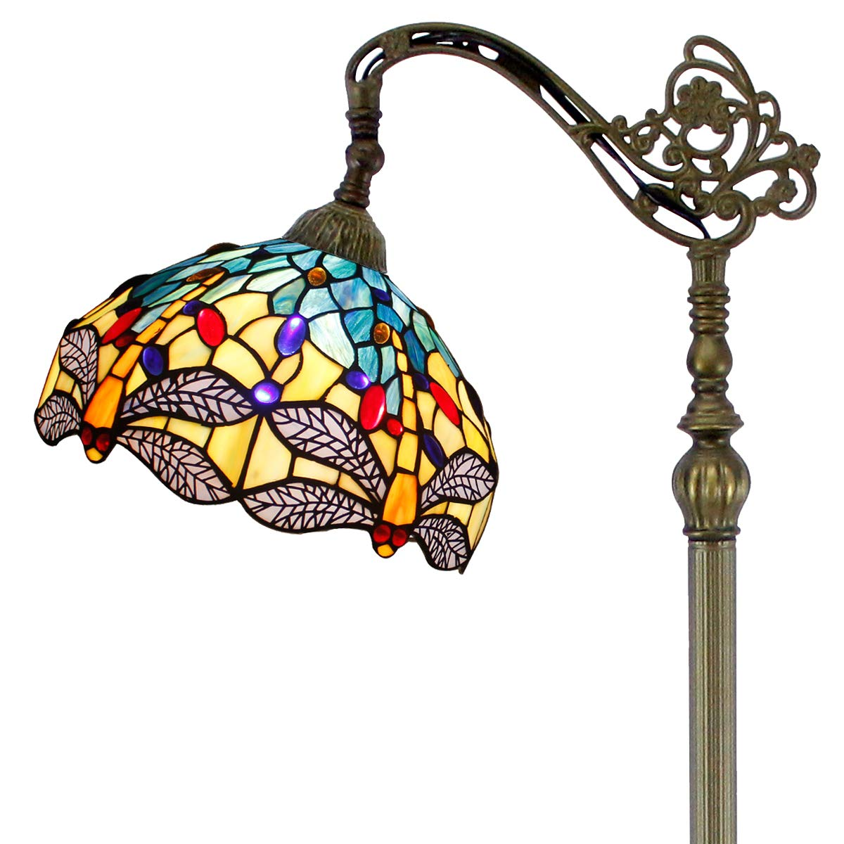 Tiffany Style Reading Floor Lamp Blue Yellow Stained Glass Dragonfly Lampshade in 64 Inch Tall Antique Arched Base for Girlfriend Bedroom Living Room Lighting Table Set S128 WERFACTORY