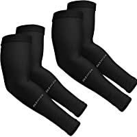H HOME-MART 2 Pairs Cooling Arm Sleeves (Black), One Size Fit All UV Protection Sleeves Cover for Men and Women for…
