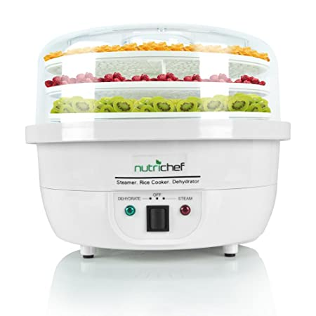NutriChef 3-in-1 Food Dehydrator & Steamer Cooker - Electric Kitchen Dehydrator - Jerky Maker - Dried Fruits -Steam Rice White color (PKFDSRC10WT) Pots & Pans at amazon