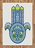 Hamsa Area Rug by Ambesonne, Asian Mysticism Japanese Culture Inspired Design with Koi Fishes Magic Power, Flat Woven Accent Rug for Living Room Bedroom Dining Room, 5.2 x 7.5 FT, Blue Green Yellow