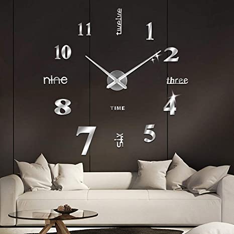 SOLEDI Reloj de Pared 3D, DIY Reloj de Etiqueta de Pared Decoración Ideal para la