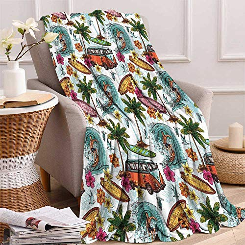 maisi Ocean Super Soft Lightweight Blanket Hawaiian Surfer on Wavy Deep Sea Retro Style Palm Trees Flowers Surf Boards Print Oversized Travel Throw Cover Blanket 70