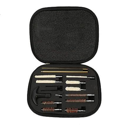 Nikou Kit de Limpieza de Pistola de 16 Piezas - Kit de Limpieza de Escopeta compacta para Calibre 12 y 20, cepillos portátiles con Estuche para ...