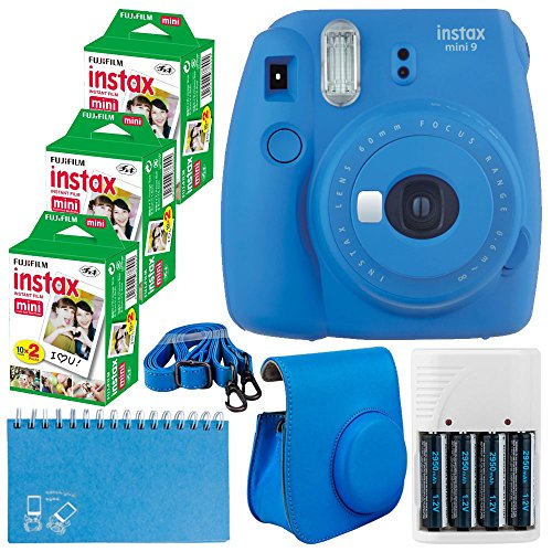 Fujifilm Instax Mini 9 Instant Camera (Cobalt Blue) + Fujifilm Instax Mini Twin Pack Instant Film (60 Exposures) + Camera Case + Scrapbooking Album + 4 AA Batteries & Charger – Deluxe Accessory Bundle