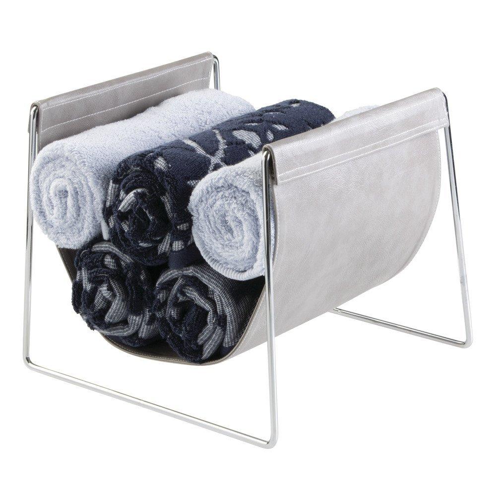 InterDesign Lauren Bathroom Countertop Towel Sling Holder for Hand Towels, Washcloths - Gray/Chrome by InterDesign (Image #3)