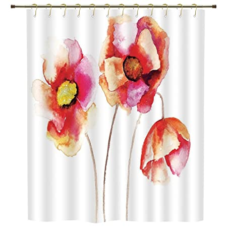 Shower Curtainpoppywatercolors Vibrant Poppies Graphic Peace And