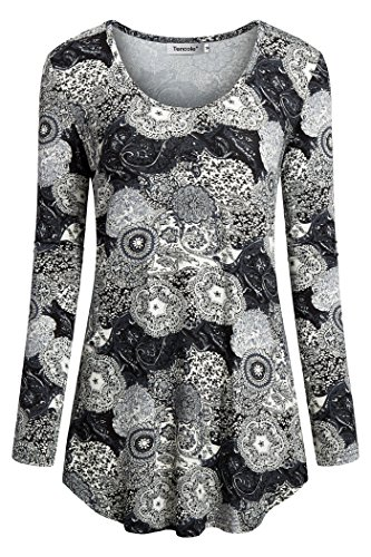 Tencole Women Long Sleeve Dressy Tunics Floral Printed Shirt Tops Pullover Blouse Winter Tunics for Women Black Grey Size M (Tangerine Blouse Floral)