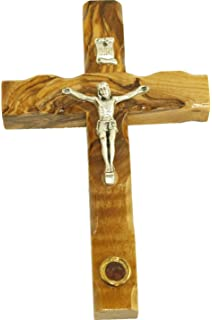CRS053 Zuluf Small Wall Hanging Wood Cross 12cm Olive Wood Wall Cross From Bethlehem