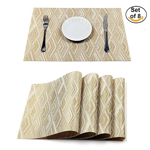 HEBE Placemats for Dining Table Heat Resistant Crossweave Woven Vinyl Kitchen Table Mats Placemat Set of 8(Gold)