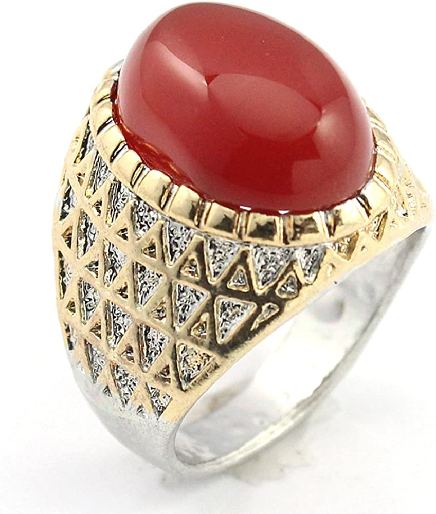 silverjewelgems CARNELLIAN Fashion Jewelry Silver Plated and Brass Ring 9 S22630