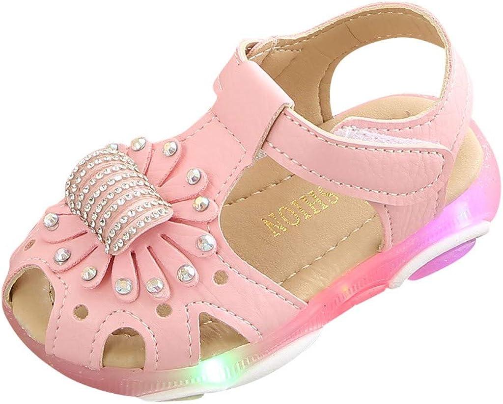 Sandalias para Bebé Niñas ❤️ Riou Zapatos de la Zapatilla de Deporte de Las Sandalias del Deporte de la luz led de la Flor del Cristal Fondo Suave Lindo niños Playa Sandalias