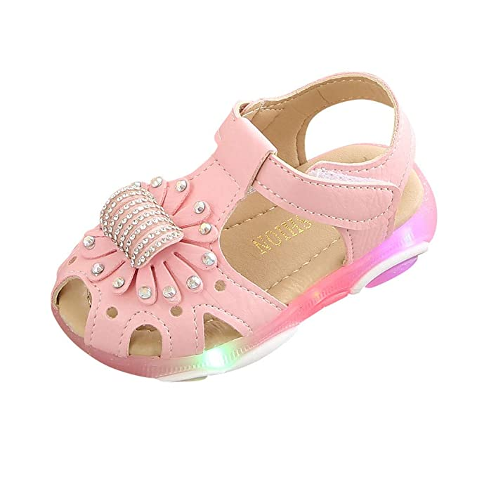 3fd15595d2740 Moonker Baby Girls Summer Led Light Up Closed Toe Sandals 1-6 Years Old Kid  Crystal Flower Luminous Sport Casual Shoes