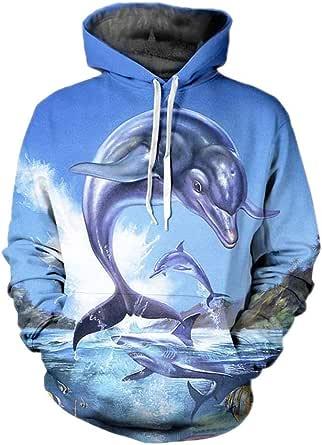 Océano Elf Dolphin 3D de impresión con Capucha Unisex de Hip Hop Tops Divertido Sudadera Outwear