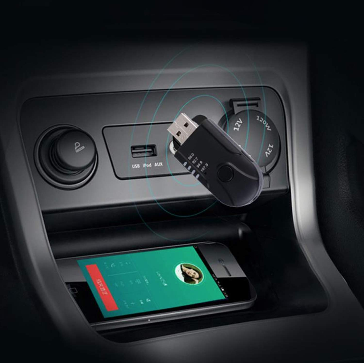 Black USB Car Bluetooth Receiver Car FM Transmitter Powered AUX Audio Player TF Card Music Adapter Receiver Hands-Free Call