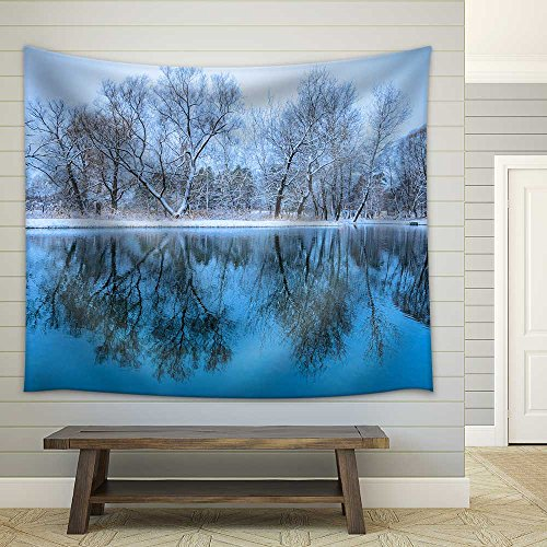 Landscape is Not Still Pond with Snowy Shore Fabric Wall Tapestry