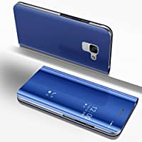 Custodia a Specchio per Samsung Galaxy A8 2018,Samsung Galaxy A8 2018 Cover Protettiva per Telefono in Pelle Blu,Artfeel Luxurious Slim Fit Plating Hard Flip Shockproof Case with Built-in Kickstand Function Make Up Mirror Clear Case for Samsung Galaxy A8 2018