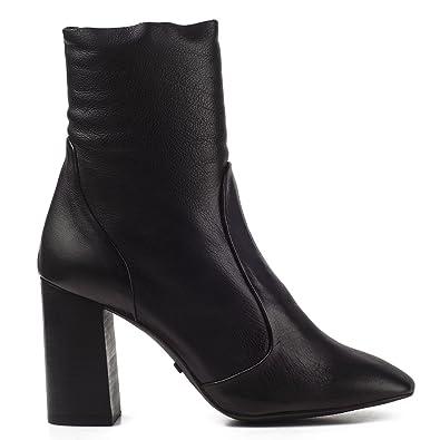 Damen Stiefeletten Stiefel Boots 70er Booties Leder Schwarz 4002 (38, Schwarz) Buffalo