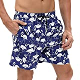 Funycell Men's Slim Fit Quick Dry Short Swim Trunks with Mesh Lining Blue/White US M