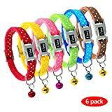 Didog 6 PCS Puppy Collars with Colorful Bells,Quick Release Buckle Dog Collars for Small Dogs,Adjustable 6-8.5''