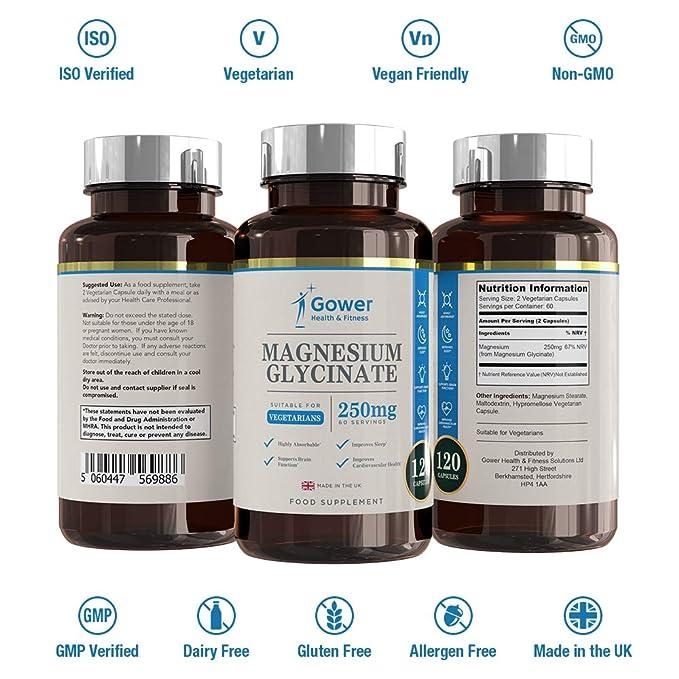 Glicinato de Magnesio 250mg - 120 Capsulas Vegetarianas (2 MESES DE SUMINISTRO) - Suplementos Magnesio de Alta Biodisponibilidad - Fabricado en UK en ...