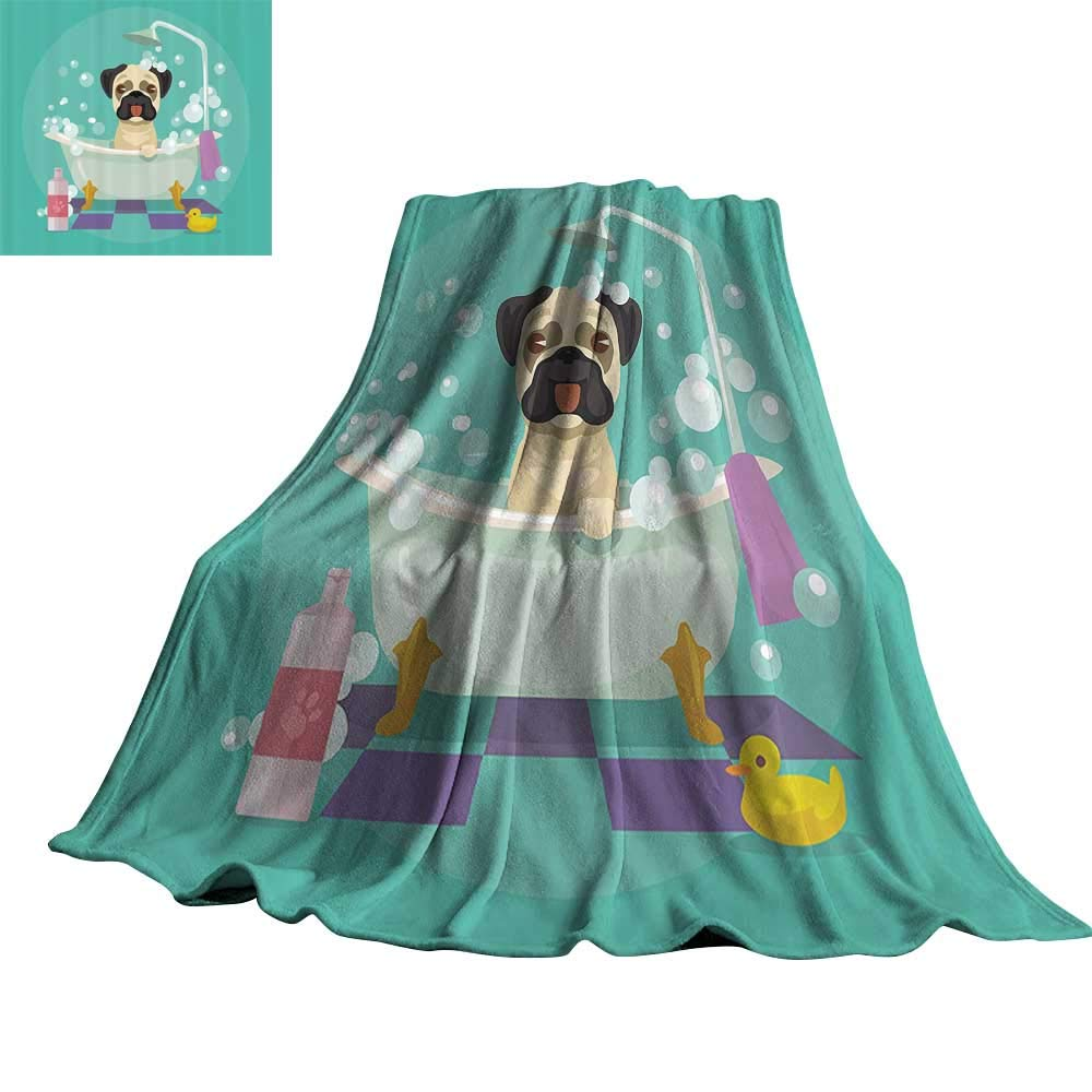 color08 60\ color08 60\ Nursery Decor Collection Blanket Sheets Pug Dog in Bathtub Grooming Doggy Puppy Salon Service Shampoo Rubber Duck Pets Cartoon Image 60  Wx62 L Teal