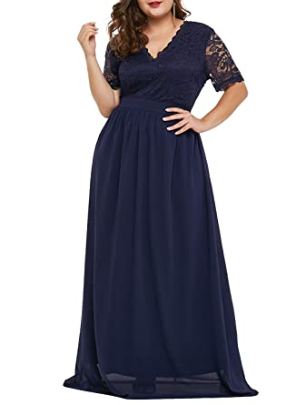 Lalagen Women Plus Size Chiffon Lace Formal Prom Gown Evening Party Maxi  Dress Navy XL 9fe59b753