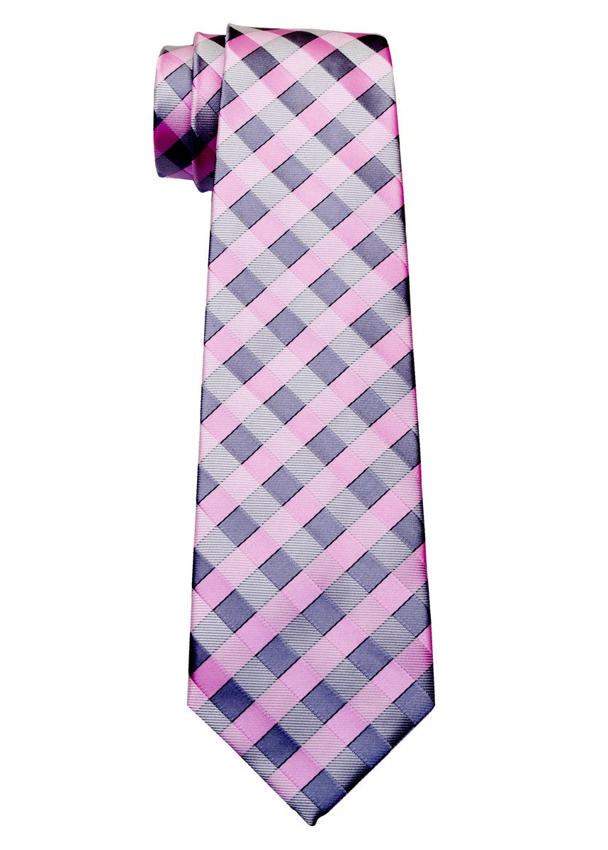 Retreez Classic Check Woven Microfiber Boy's Tie (8-10 years) - Pink and Grey Check