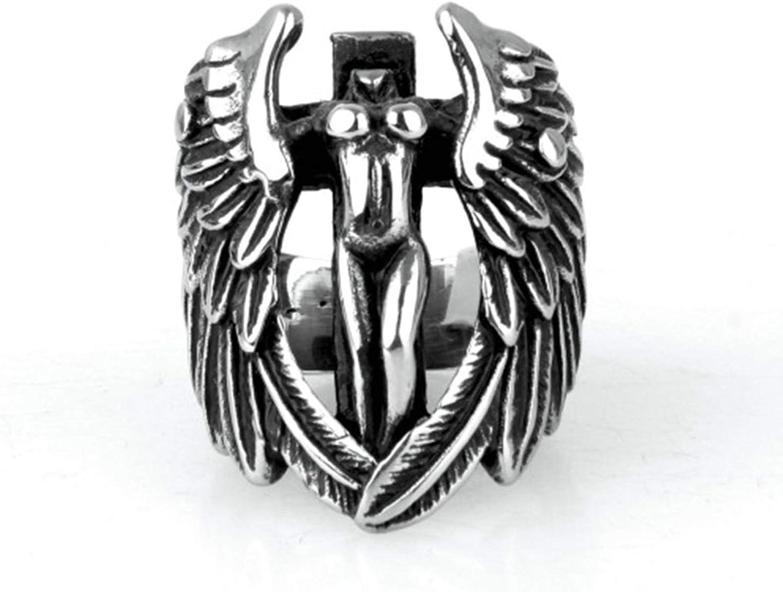 Amody Hombre Acero Inoxidable Anillos Biker Vintage Jewelry Anillo de Cruz de ala de ángel de Punk Rock Plata Anillo gótico de los Hombres