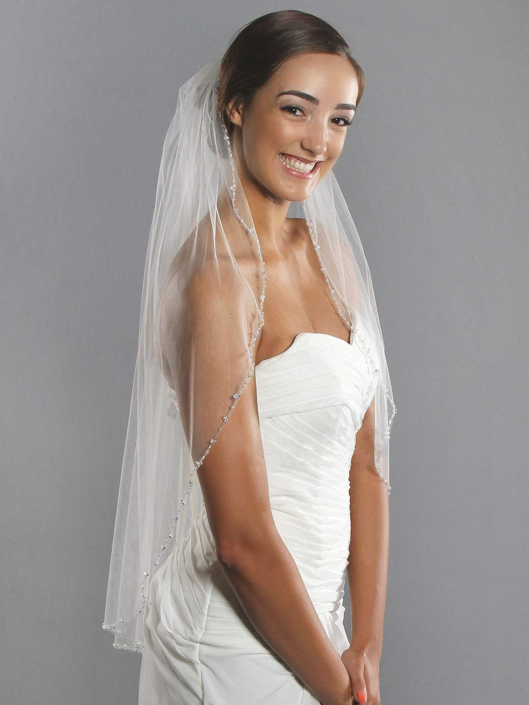 Barogirl Wedding Veil White with Rhinestones 1 Tier Beaded Edge Bridal Veil Fingertip Length with Comb for Brides (White) by Barogirl