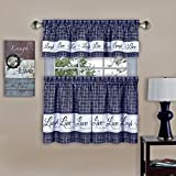 """Achim Home Furnishings Achim Home Imports Live, Love, Laugh Window Curtain, Tier Pair and Valance Set 58"""" x 36"""", Navy"""