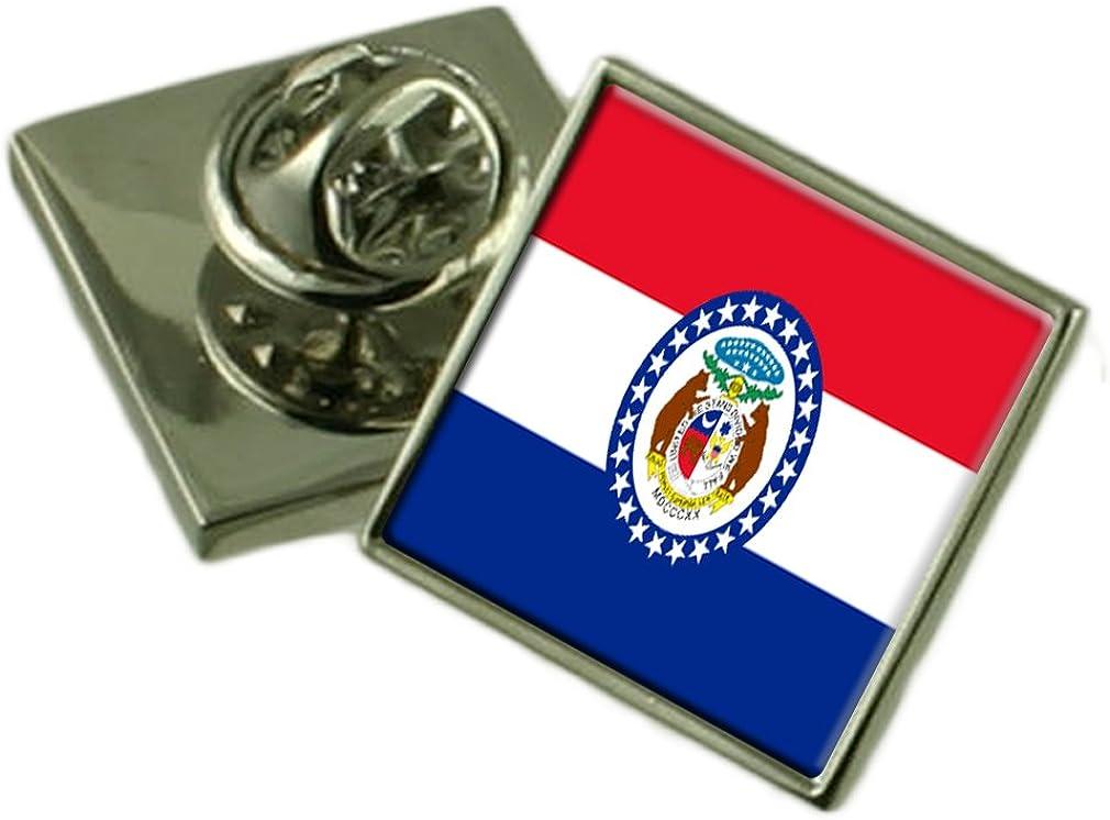 Missouri Flag Lapel Pin Badge Solid Silver 925