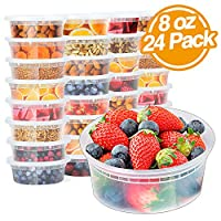 Glotoch 8oz Deli Plastic Food Containers with Lids, Leakproof Slime Small Combo Pack [Reusable, Kitchen Storage,Lunch Meal Prep, Soup,Portion Control, Dishwasher, Microwaveable & Freezer Safe.(24pack)