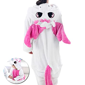 a73f343ea Kinder Kostüm Einhorn Pyjama Mädchen Schlafanzug Jumpsuit Tier ...