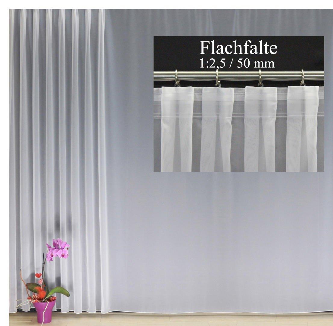 EASYHomefashion Hochwertige Fertiggardine Voile Store mit Faltenband&Bleiband FLACHFALTE 1 2,5 50 mm, Versch. Größen, 240 x 300 cm (HöhexBreite)