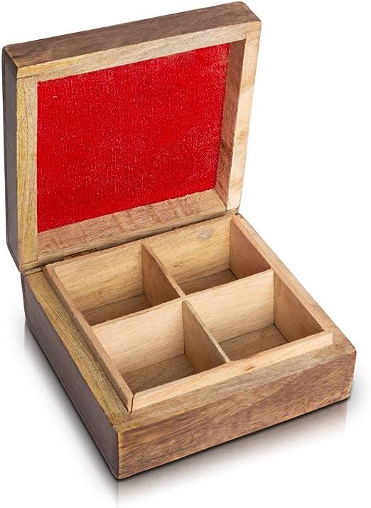 Caja organizadora de madera para té con 4 compartimentos de almacenamiento para una variedad de bolsas de té sueltas, especias y hierbas naturales ecológicas, vintage rústicas y decoración: Amazon.es: Hogar