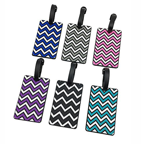 Set of 6 Colorful Waves PVC Luggage Tags for Travel Identifi