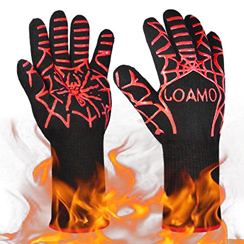 BBQ Grill Cooking Gloves 932°F Heat Resistant Red Silicone Insulated & Anti-Slip Aramid Oven Mitts with 13″ Long for Extra Forearm Protection for Barbecue, Baking, Camping, Outdoor & Kitchen(1 Pair)
