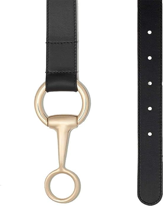836e608d829 Amazon.com  Gucci Women s Black Crocodile Horsebit Round Buckle Belt ...
