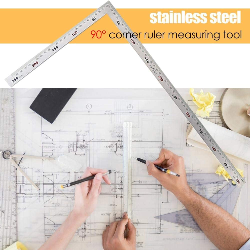 Color : B WEI-LUONG tools Hot Sale Right Angle Ruler Wear-resistant Metal Scale Stainless Steel Straight Ruler 90 Degree Right Angle Measuring Tool Micrometer