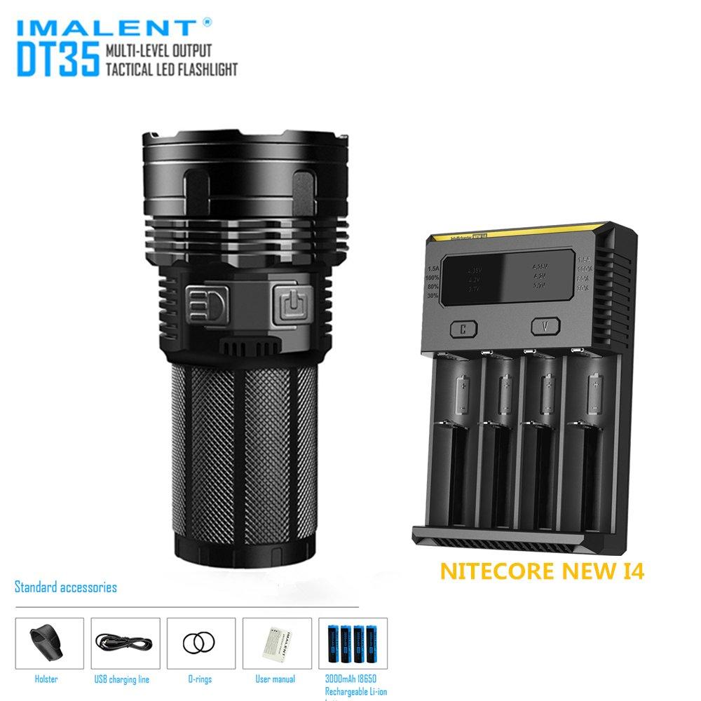Torch IMALENT DT35 Max 8500LM 4 XHP35 HI LEDs 1000M throw flashlight + 4PCS 18650 3000mAh batteries +NITECORE NEW I4 Smart Charger