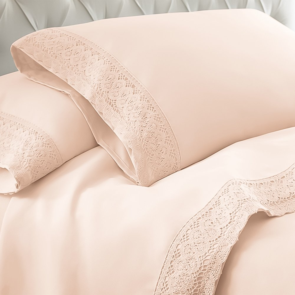 eLuxurySupply Crochet Lace Microfiber Sheet Set | Hypoallergenic & Wrinkle-Resistant | Exceptionally Soft Sheets | 4-Piece Set Includes Flat Sheet, Fitted Sheet & 2 Pillowcases | Full - Blush