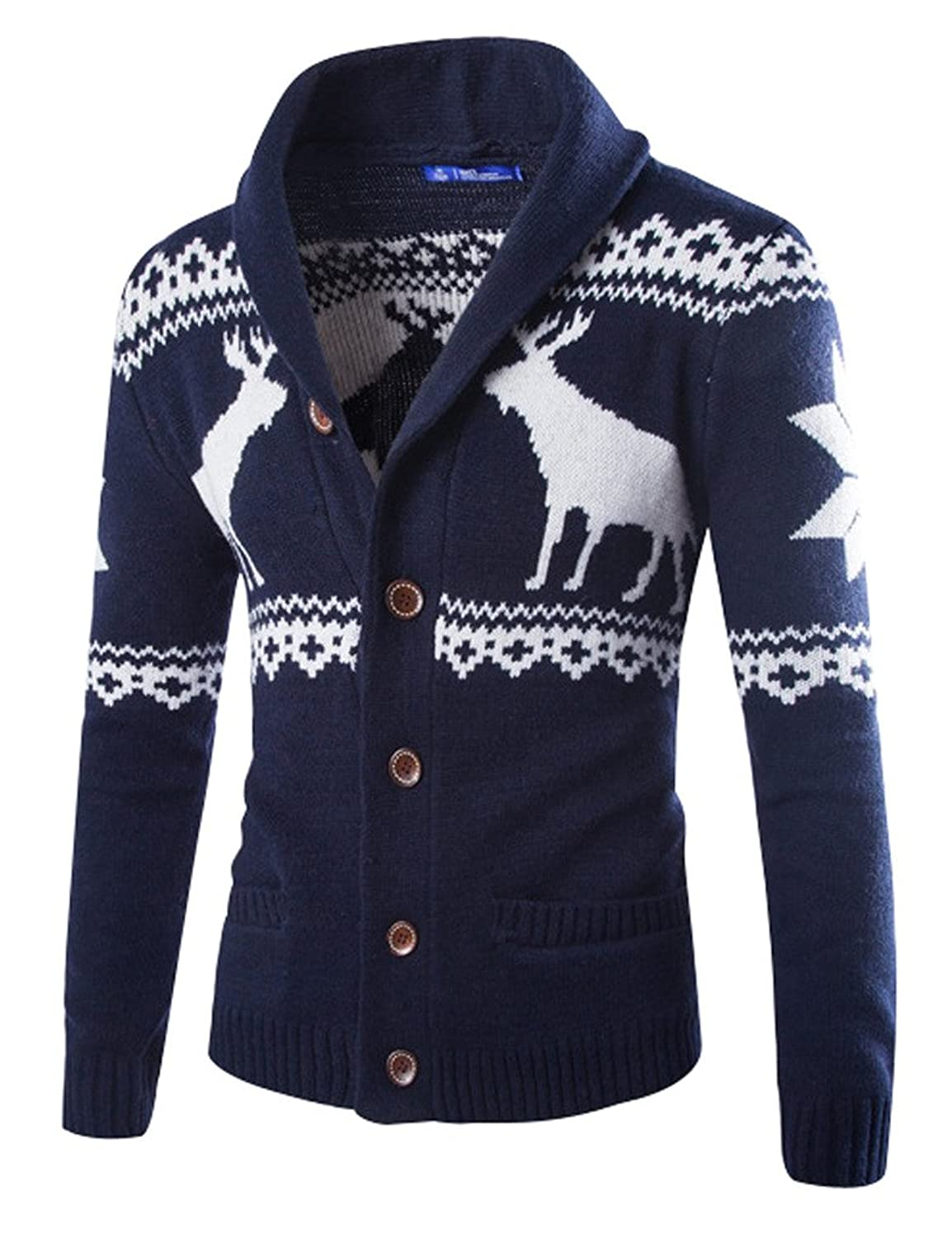 Youlee Men's Deer Printing Christmas Cardigan Knitted Sweater