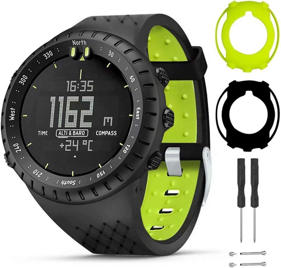 T-BLUER Watch Band Compatible for Suunto Core Correa,Accesorio de Pulsera de Correa de Repuesto de Silicona y Funda Protectora de Cubierta Completa para Suunto Core Smart Watch