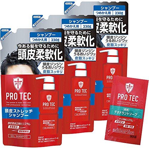 【Amazon.co.jp한정】PRO TEC(프로 테크) 두피 스트레치 샴푸 채우기 교환 230g×3 개팩+deodorant soap1회분 첨부(부)(/)