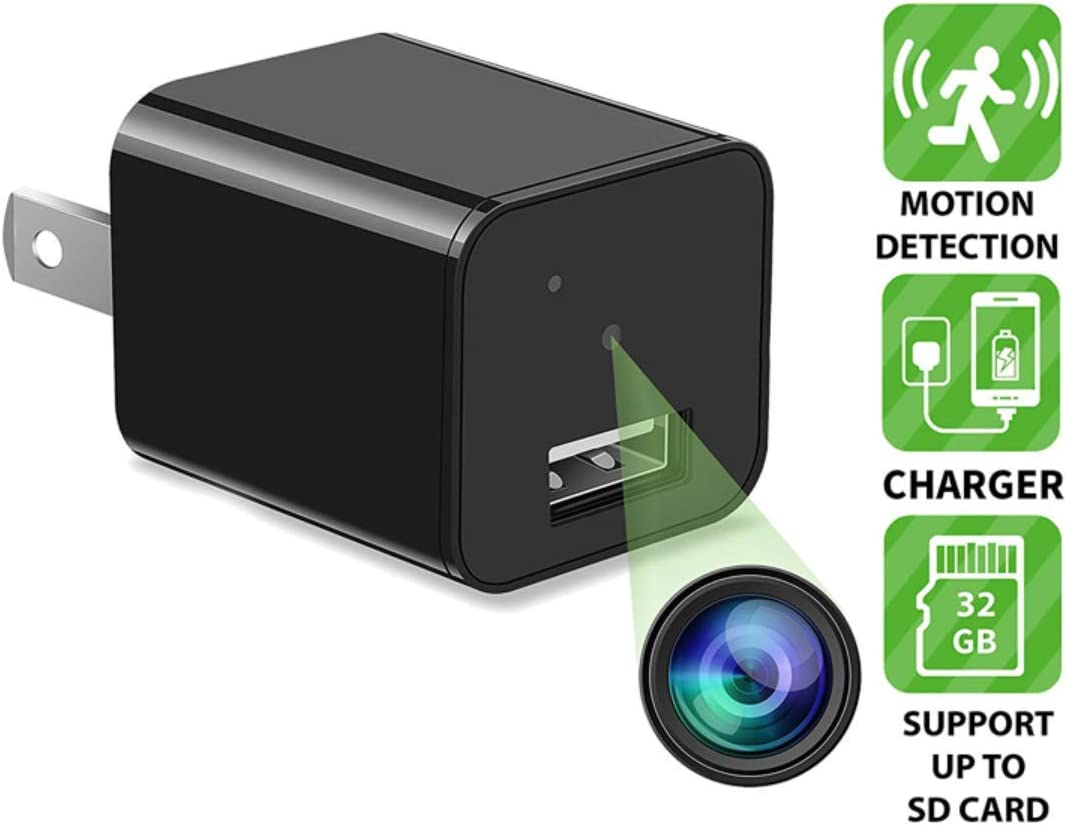 DENT 1080P USB Charger Camera – HD with Motion Detection, 32gb microSD Card Included, Pet Nanny Security Cam, USB AC Wall Plug Adapter for Phone