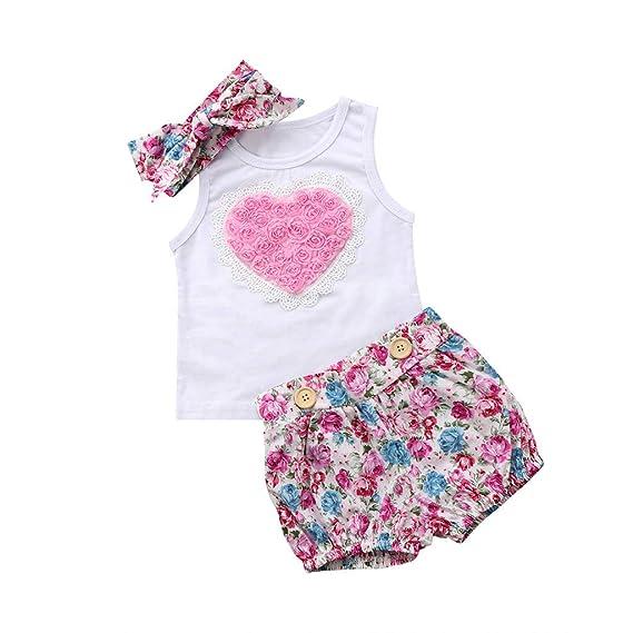 Fossen Ropa Bebe Niña Verano Blusas sin Mangas y Pantalones Cortos con Banda de Pelo para Recién Nacido 0 a 24 Meses,Conjunto de Estampada Rose 3D