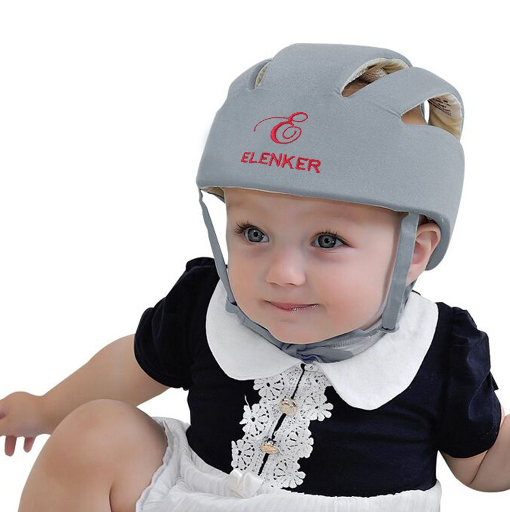 ELENKER Baby Children Infant Adjustable Safety Helmet Headguard Protective Harnesses Cap Gray